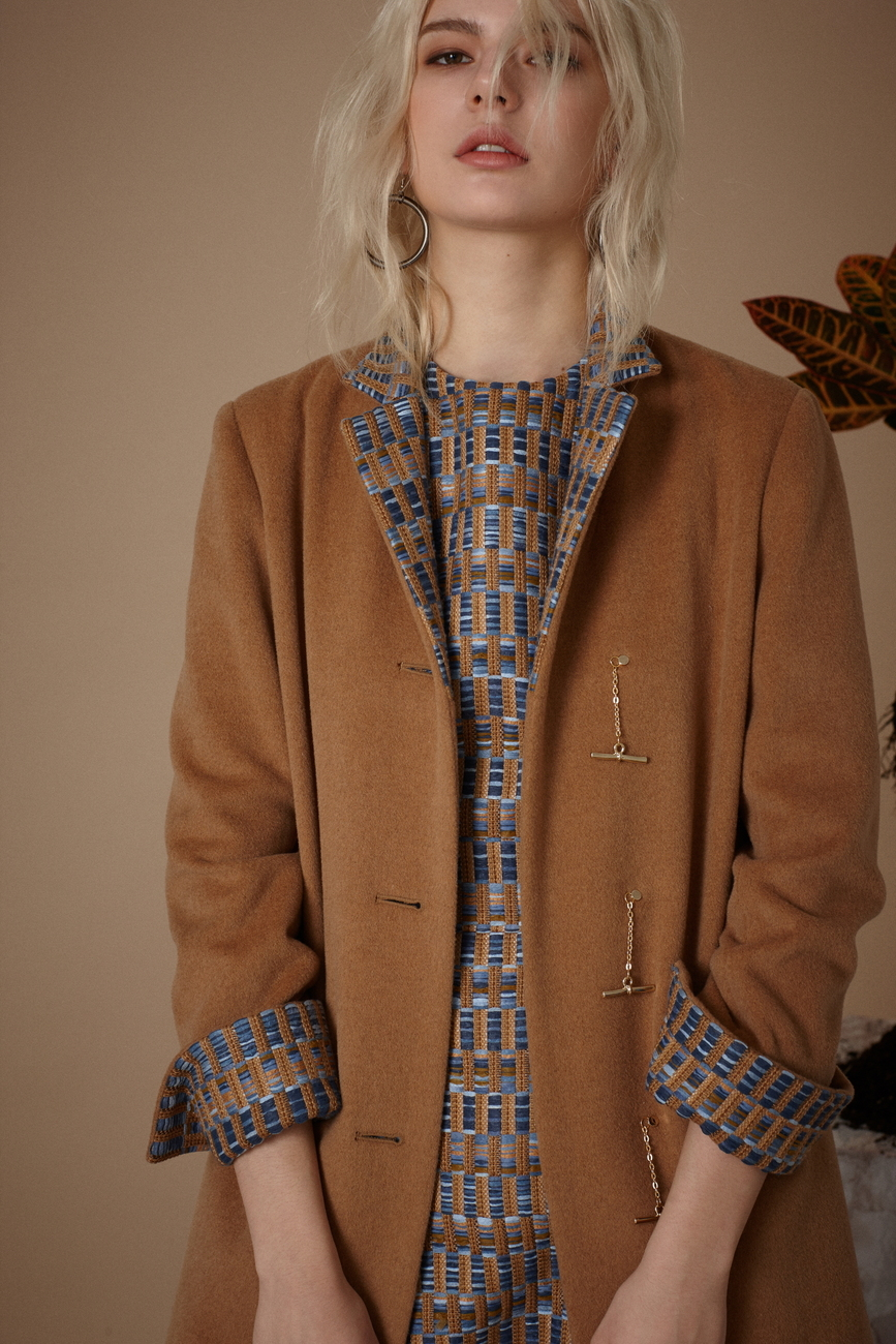 Isabel Patterned Camel Coat